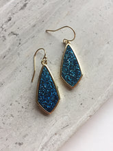 Midnight Blue Druzy Earrings, gold