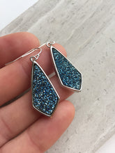 Midnight Blue Druzy Earrings, silver in hand