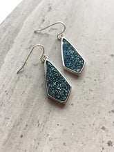 Midnight Blue Druzy Earrings, silver