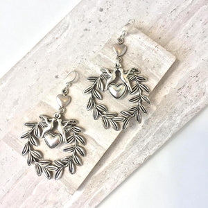 Silver milagro Love bird Hoop Earrings