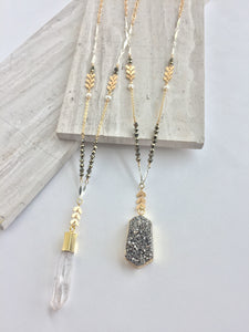 Mix Metals and Pyrite Necklace — both pendants