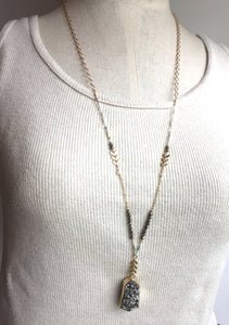 Mix Metals and Pyrite Necklace — Silver Druzy, on mannequin
