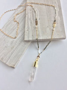 Mixed Metals and Pyrite Necklace — Quartz Crystal