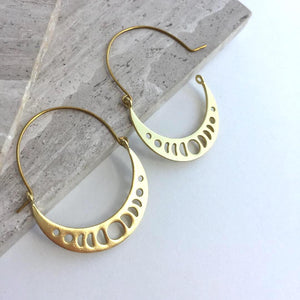 Moon Phase Gold hoops