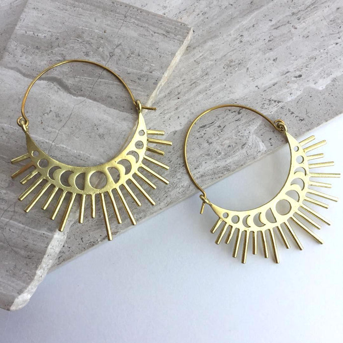 Moon Phase / Sun Burst Gold hoop Earrings