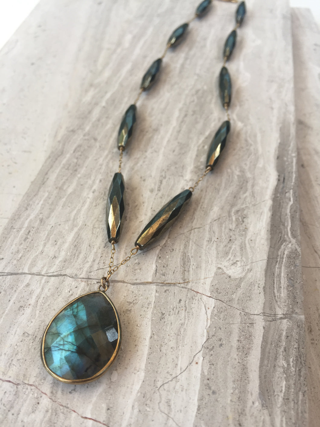 Pyrite & Labradorite Mystic Necklace, gold