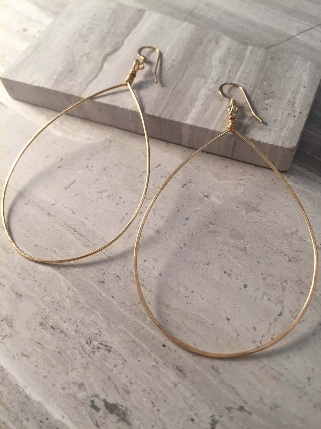Huge Teardrop Hoop Earrings gold