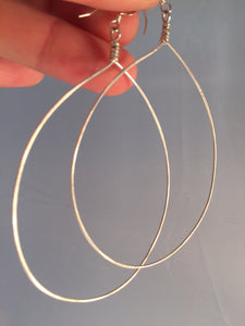 Huge Teardrop Hoop Earrings sterling silver