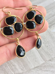 Onyx Trio Earrings, in hand