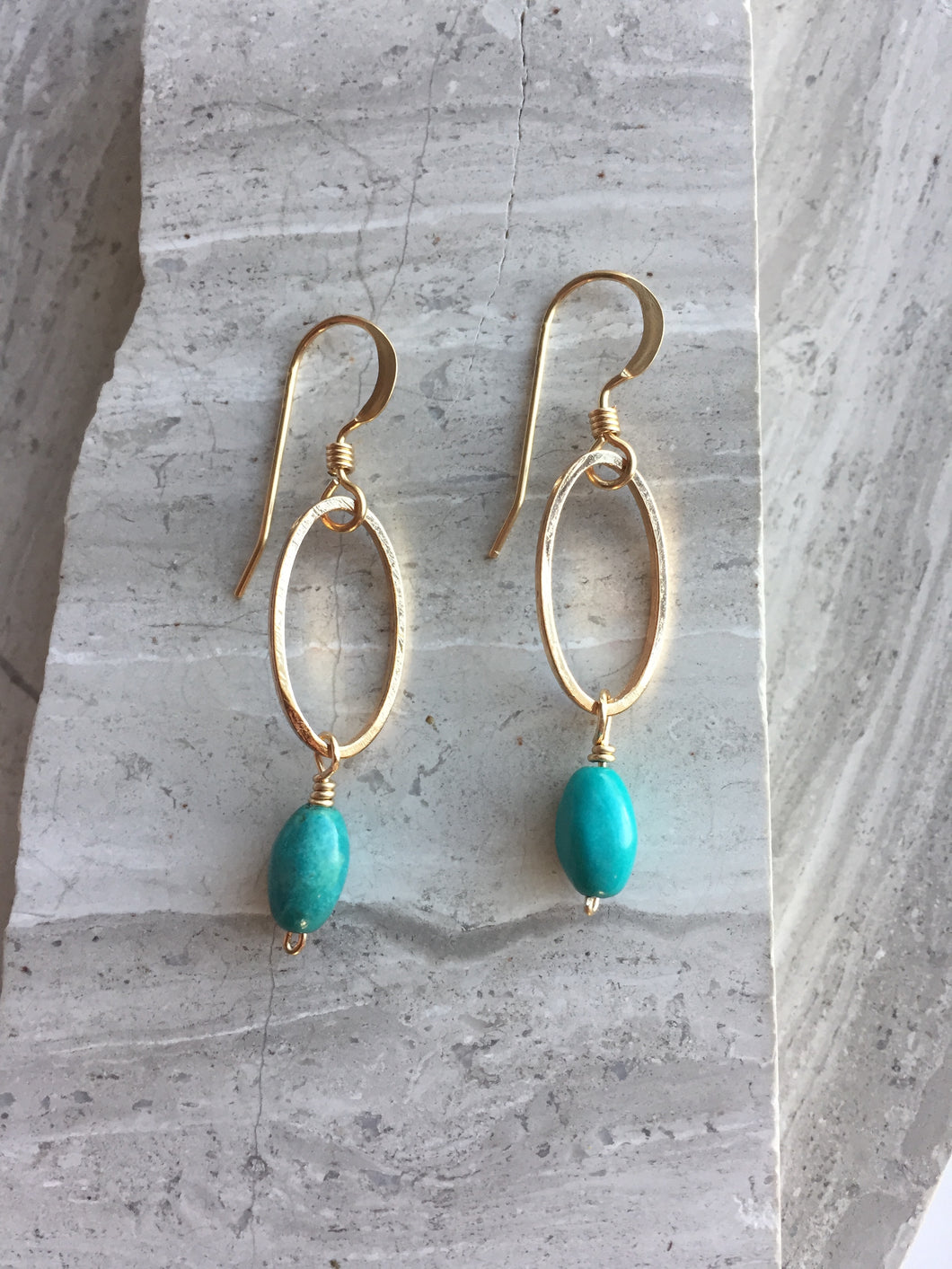 Open Oval Earring — Turquoise