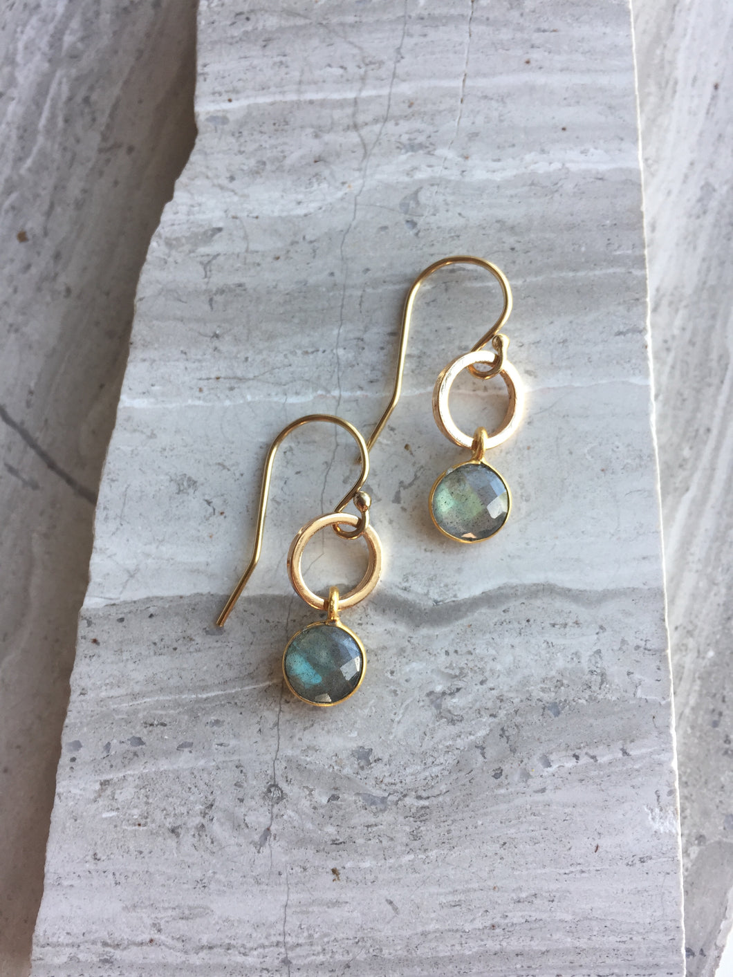 Open circle & Labradorite Lentil Earrings
