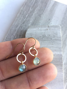 Open circle & Labradorite Lentil Earrings, in hand