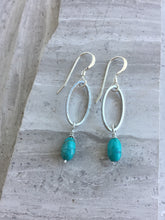 Open Oval Earring — Turquoise, silver