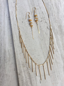Pearl and Sequin Line Earrings, with gold fringe necklace
