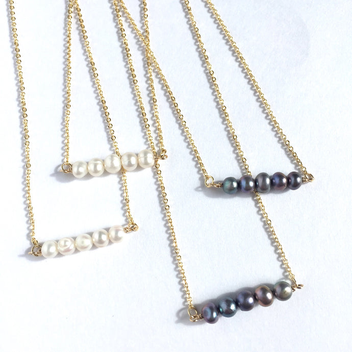 White & Purple Pearl bar & Gold Chain Necklace lot