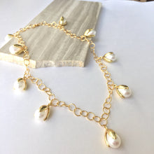 Pearl Tulip drops / large chain Gold Necklace