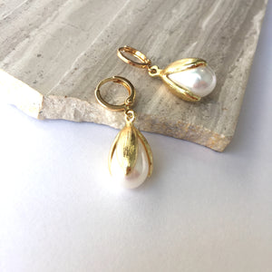 Pearl Tulip drop / Gold huggie lever back Earrings