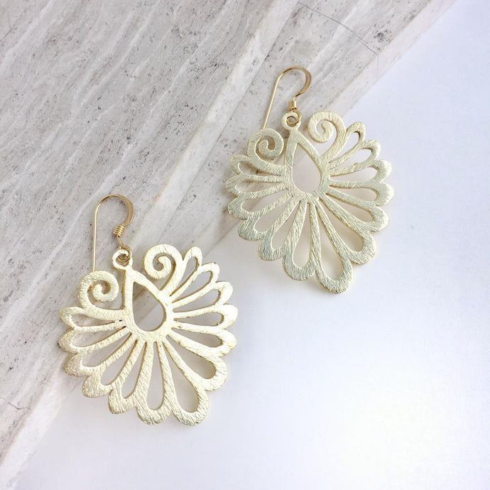 Feather Plume Earrings, gold