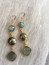 Pyrite & Labradorite Graduated Stone Earrings, gold