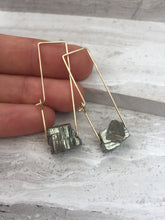 Pyrite Rectangle Earrings, gold, natural
