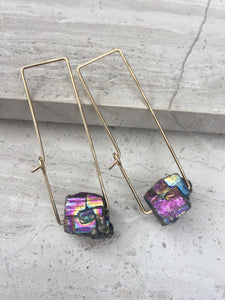Pyrite Rectangle Earrings, gold, purple electro-plated