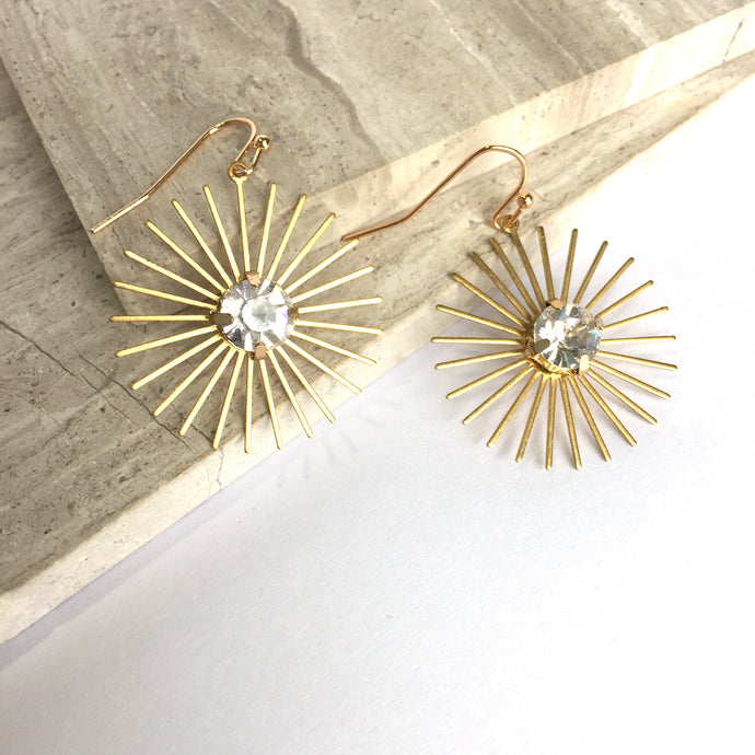 Rhinestone Sunburst Gold dangle Earrings