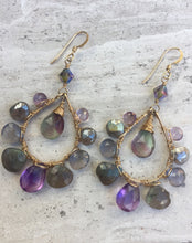 amethyst, labradorite, iolite, fluorite, Swarovski crystal, earrings