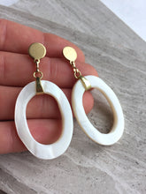 Shell Hoops— Post earrings