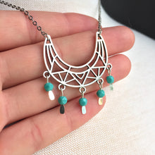 Silver Tribal lines turquoise bead dangle necklace