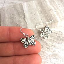 Silver Butterfly Charm Earrings