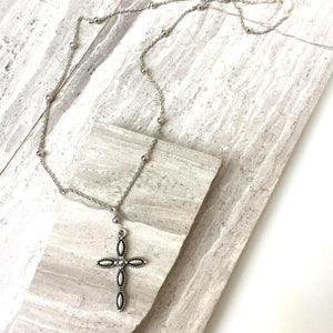 Cross Charm & Beaded Chain Necklace — Silver