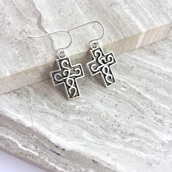 Celtic Cross Charm Earrings
