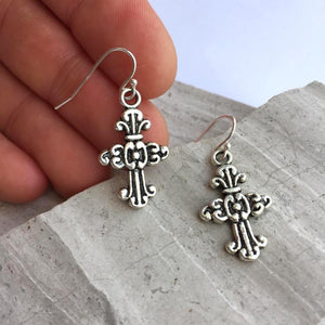 Harvest Cross Charm Earrings — Silver