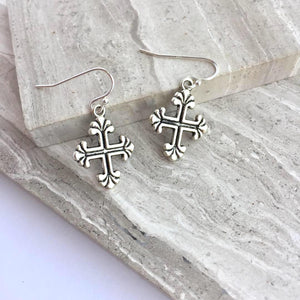 Templar Cross Charm Earrings — Silver