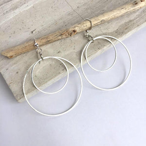 Silver Double Hoop Orbit Earrings