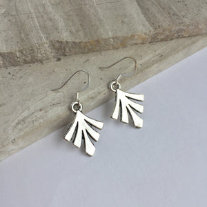 Silver fan Charm Earrings