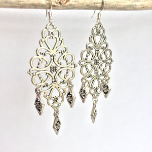 Thai Silver filigree Chandelier Earrings