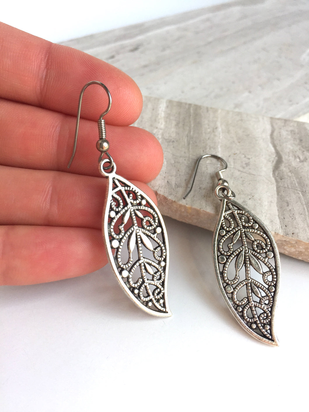 Silver filigree Long Leaf Earrings