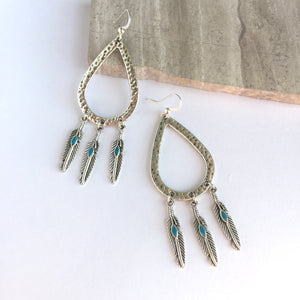 Silver hammered hoop drop Feather Earrings