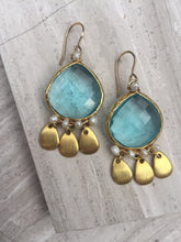 Sky-blue and Brushed Gold Earrings gold