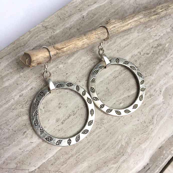 Silver stamped leaf hoop Earrings