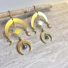 Sun and Moon Brass Earrings