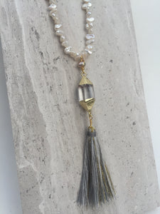 Quartz Crystal Tassel—White pearl Necklace