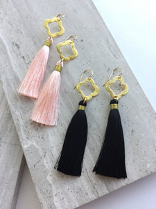Bushed Quatrefoil Tassel Earrings, peach and black