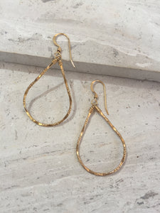Droplet Hoop earrings— Gold Shiny Texture
