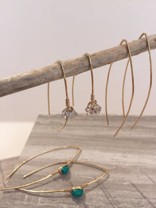 Threader Earrings — 3 pair. Turquoise, Herkimer diamond, wire