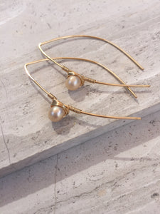 Threader Earrings — Pearl