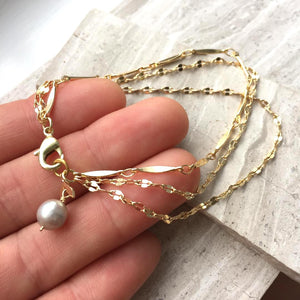 Three gold chains Bracelet w/ Pearl Dangle