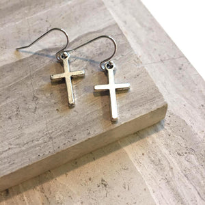 Tiny Cross Charm Earrings — Silver