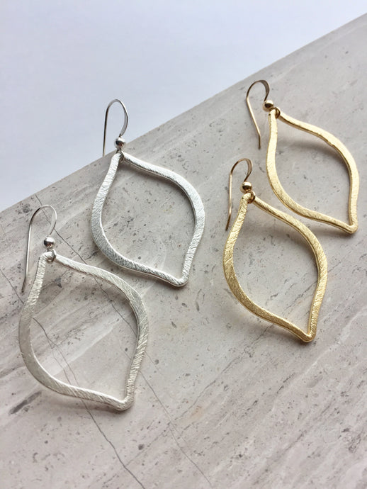 Brushed Tulip Earrings, gold and silver